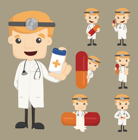 doctor tablet: Set of doctor characters poses with the pill