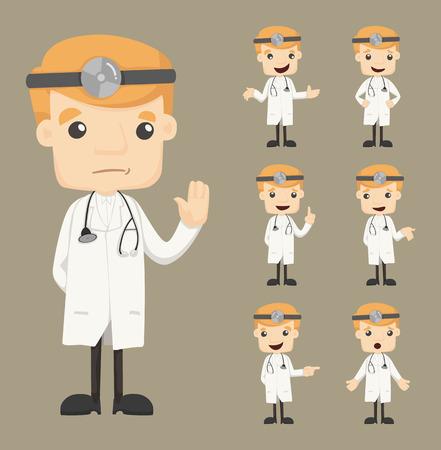 Conjunto de caracteres médico poses