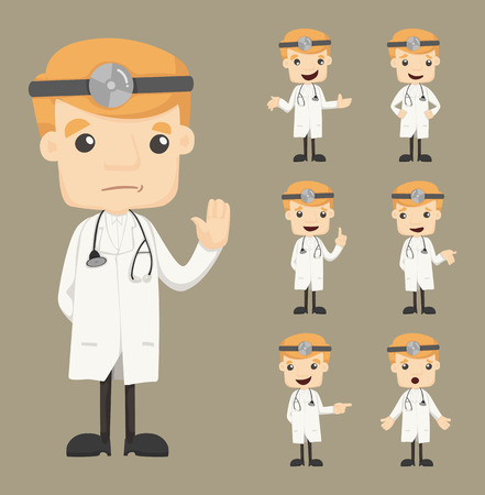 hospital cartoon: Set of doctor characters poses