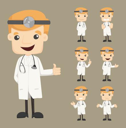 doctor dibujo animado: Conjunto de caracteres médico poses