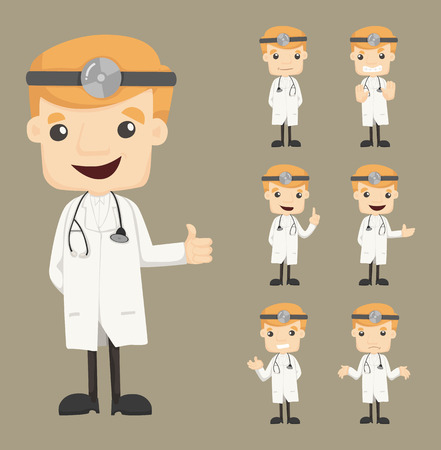 doctor stethoscope: Set of doctor characters poses