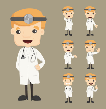 doctor cartoon: Set of doctor characters poses , eps10 vector format Illustration