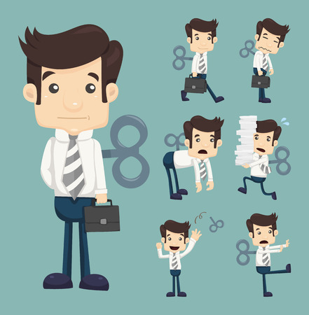 Set of businessman with wind-up key Stock Vector - 26489569
