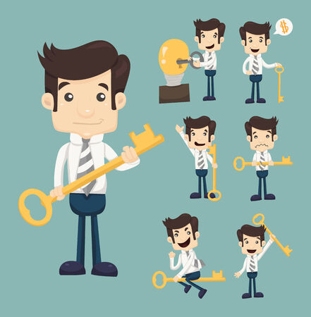leadership key: Set of businessman with key