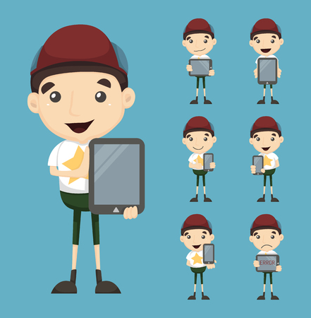Set of boy and tablet   Vector