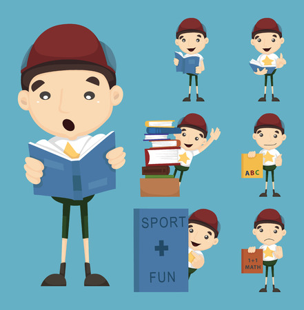 guidebook: Set of boy learning icon   Illustration