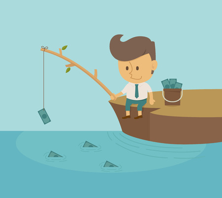 communication metaphor: Businessman fishing dollar