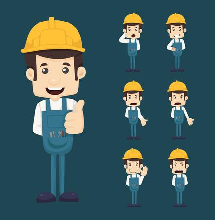 caricaturas de personas: Conjunto de caracteres ingeniero poses