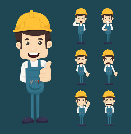 cartoon safety: Set of engineer characters poses Illustration