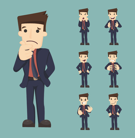 formal shirt: Set of businessman characters poses