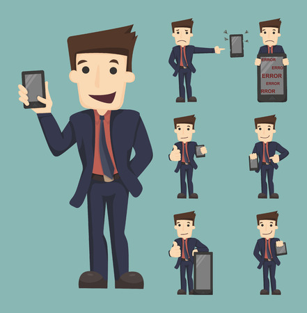 Set of businessman show tablet and smart phone characters poses Ilustração