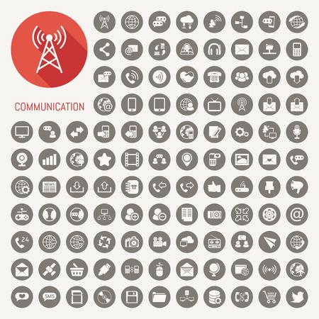 Iconos de la comunicación con el fondo negro, en formato vectorial eps10 Ilustración de vector
