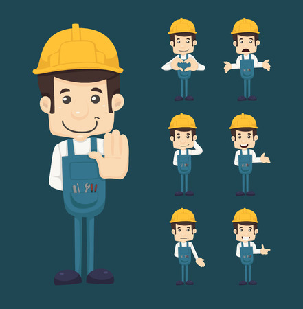 construction worker cartoon: Set of engineer characters poses Illustration
