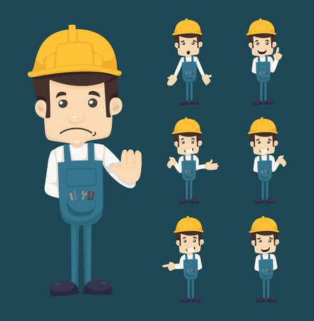 building inspector: Set of engineer characters poses Illustration
