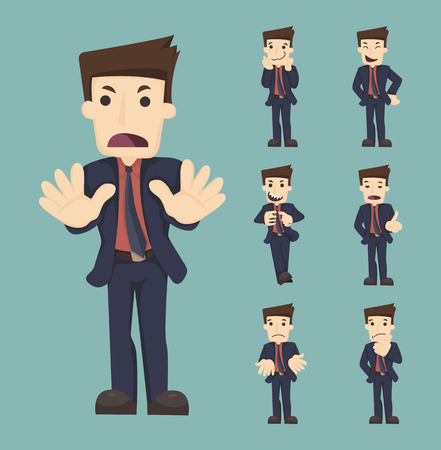 office worker cartoon: Set of businessman characters poses