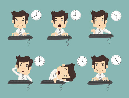 clock cartoon: Set of businessman working time , eps10 vector format Illustration