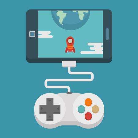 Concepto de juego móvil, diseño plano, formato vectorial eps10