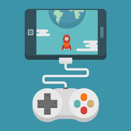 Mobile gaming concept  , flat design , eps10 vector format Illustration