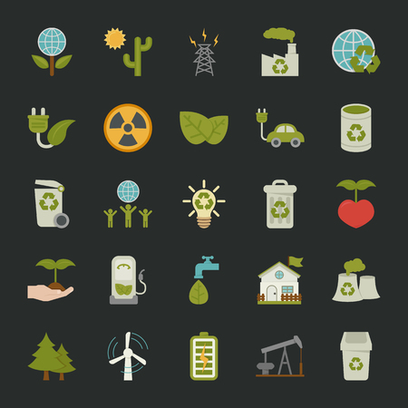 Green eco icons set , EPS 10 Vector Format Vector
