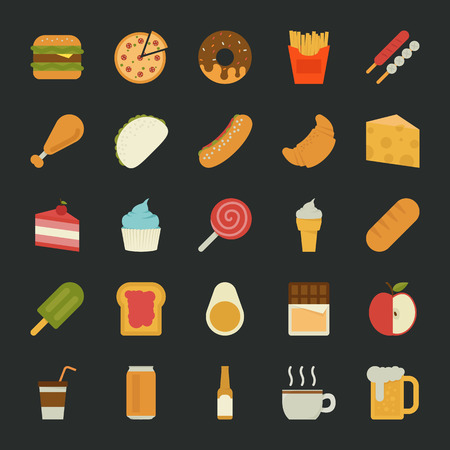 food and beverages: Food  icons , flat design , eps10 vector format Illustration