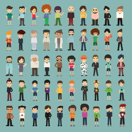 character set: Group cartoon people , eps10 vector format