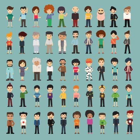 caricaturas de personas: Los dibujos animados en grupo, en formato vectorial eps10