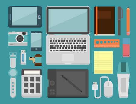 pocketbook: office workplace Essential , eps10 vector format Illustration