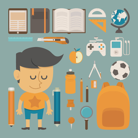 vector student: Student and tool , flat design , eps10 vector format Illustration