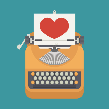 type writer: Vintage typewriter and red heart on paper sheet  , eps10 vector format