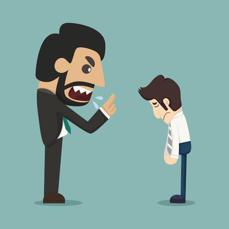 reprimand: Boss screaming at worker