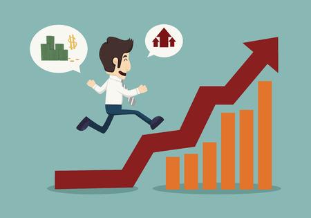 Business man running top of graph  Illustration