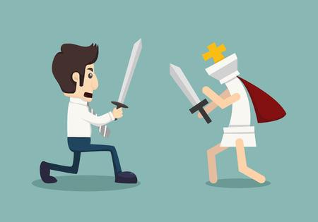 debate win: Businessman fighting Illustration