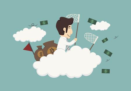 Business man catching money