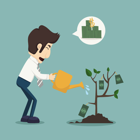 earn money: Businessman watering a plant of money
