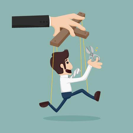 pull toy: Cortar las cuerdas de un hombre de negocios de t�teres, d�ndole la libertad Vectores