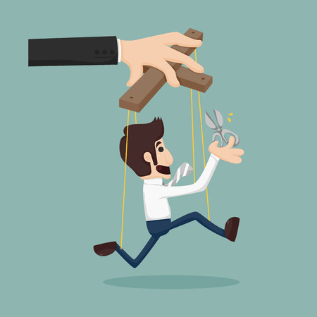 Cutting the strings of a business man puppet, giving it freedom