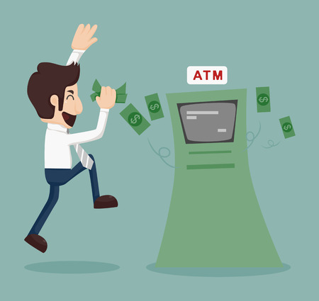 withdrawing: Businessman withdrawing money from ATM