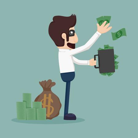 giving back: Businessman corruption concept  Illustration