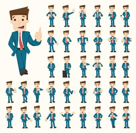 caricaturas de personas: Conjunto de caracteres de negocios poses Vectores