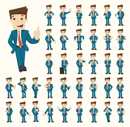 Set of businessman characters poses  Çizim