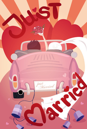 Just married wedding invitation card design  Vector