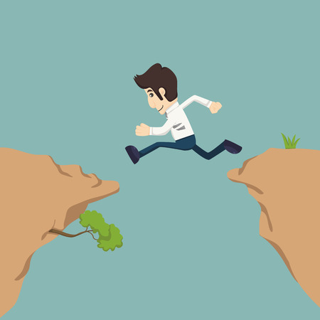 businessman jumping: Businessman jumping over gap    Illustration