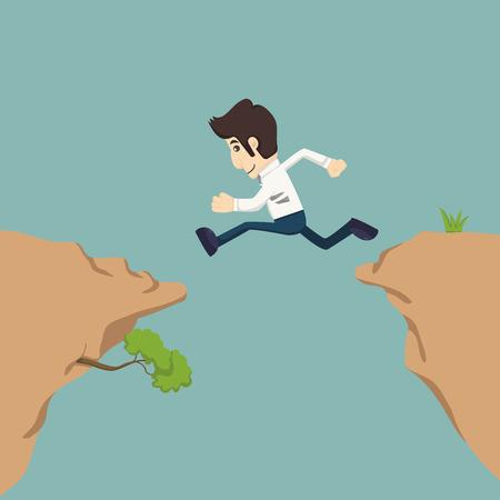 Businessman jumping over gap    Illustration