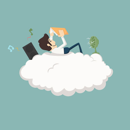 resting: Businessman resting on a cloud