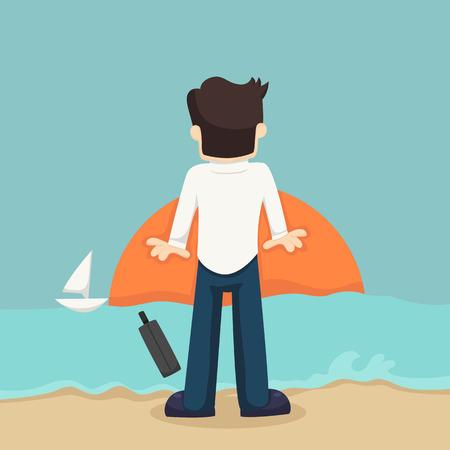 career success: Businessman relaxing on the beach