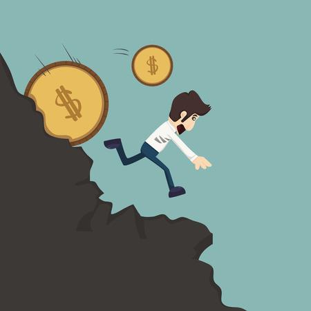 tiring: Businessman pushing coin