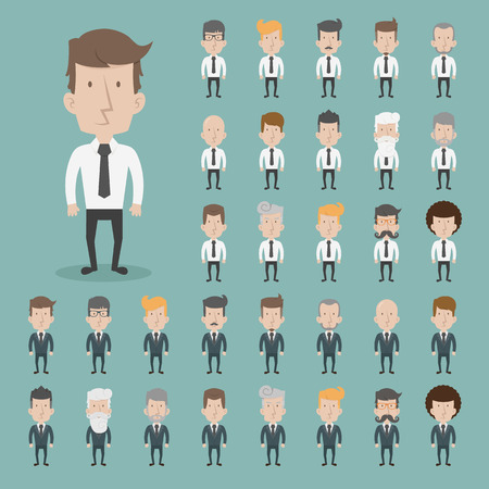 standing: Set of businessman characters poses  Illustration
