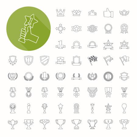 賞品 & 賞アイコン、薄いアイコン デザイン  イラスト・ベクター素材