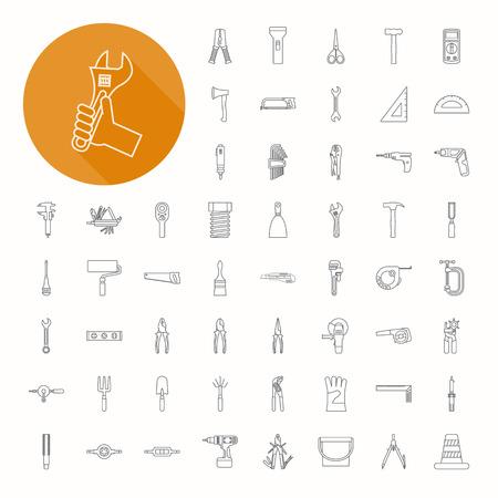 Handgereedschap pictogrammen, dunne design icoon Stock Illustratie