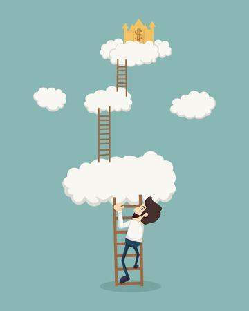 黄金の城を探して雲の上の梯子の上のビジネスマン  イラスト・ベクター素材